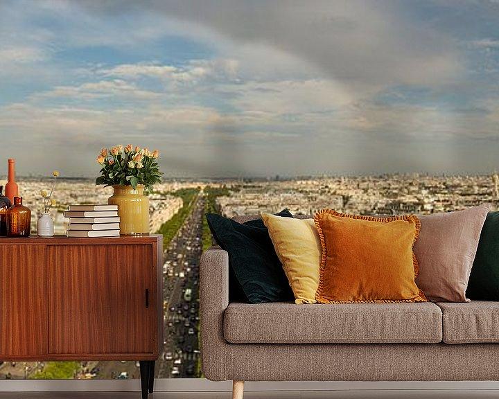 Sfeerimpressie behang: Panorama van Parijs van Melvin Erné