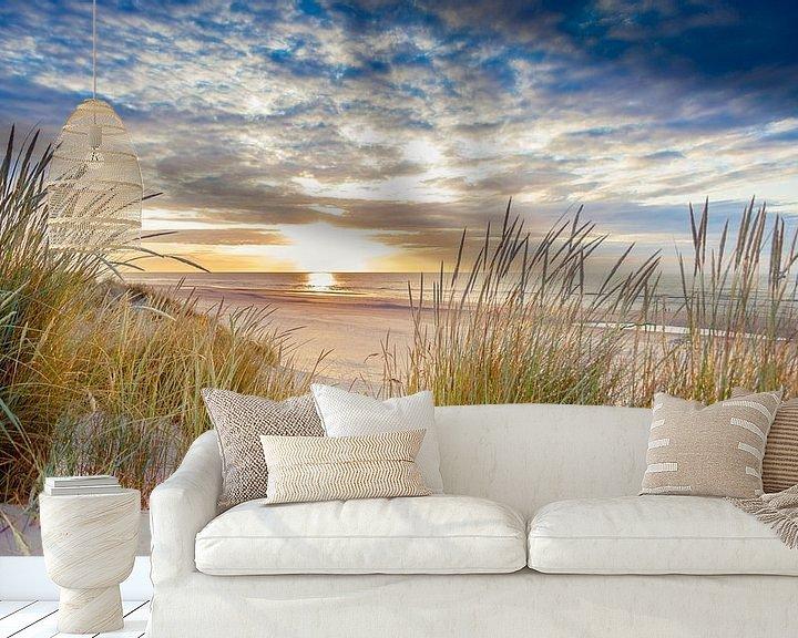 Beispiel fototapete: Sonnenuntergang über dem Strand von Ameland von Karel Pops