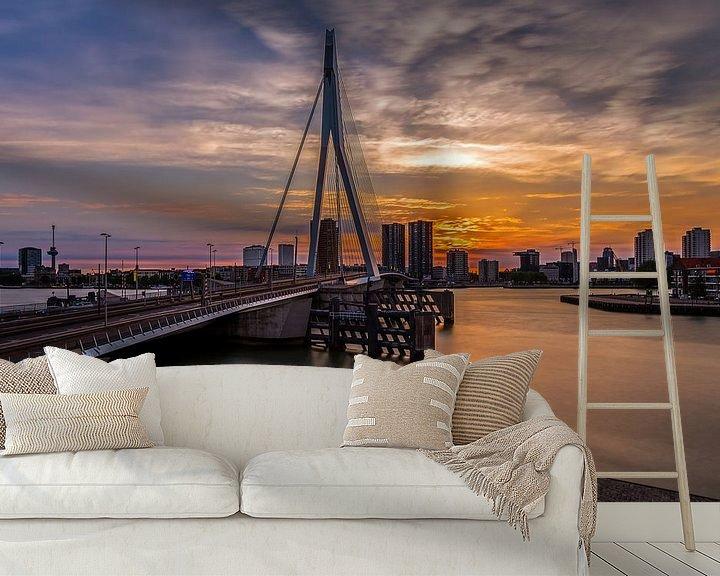 Sfeerimpressie behang: De Erasmusbrug in Rotterdam van MS Fotografie | Marc van der Stelt
