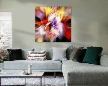 Veelkleurig abstract, vierkante compositie van Rietje Bulthuis