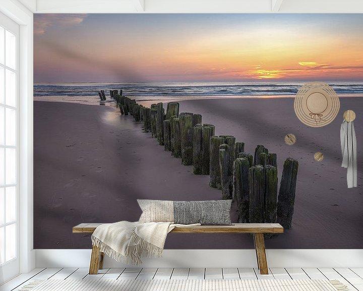 Sfeerimpressie behang: Zonsondergang aan het strand van Martin Bredewold