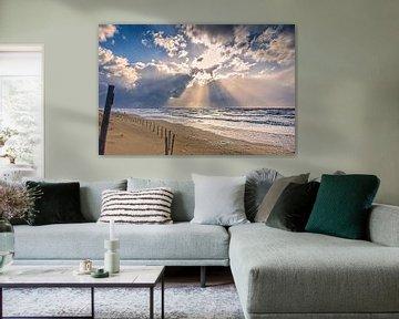 Strand met de Noordzee en zijn wolken van eric van der eijk