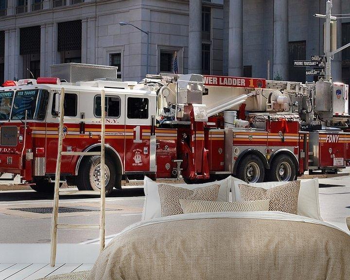 Sfeerimpressie behang: Brandweerauto van New York, Amerika van Be More Outdoor