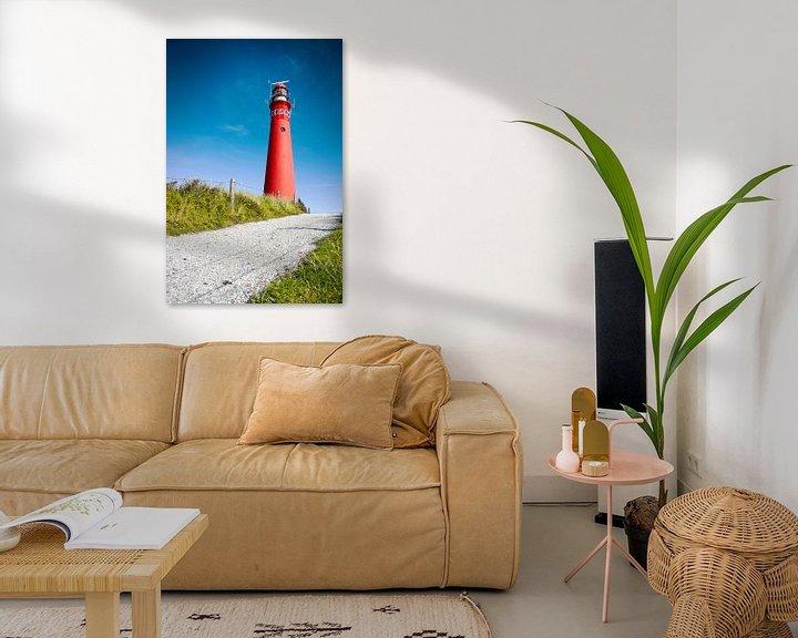 Beispiel: Roter Leuchtturm und tiefblauer Himmel von Jan Brons