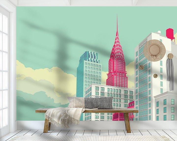 Sfeerimpressie behang: Park Avenue NYC landscape van Remko Heemskerk