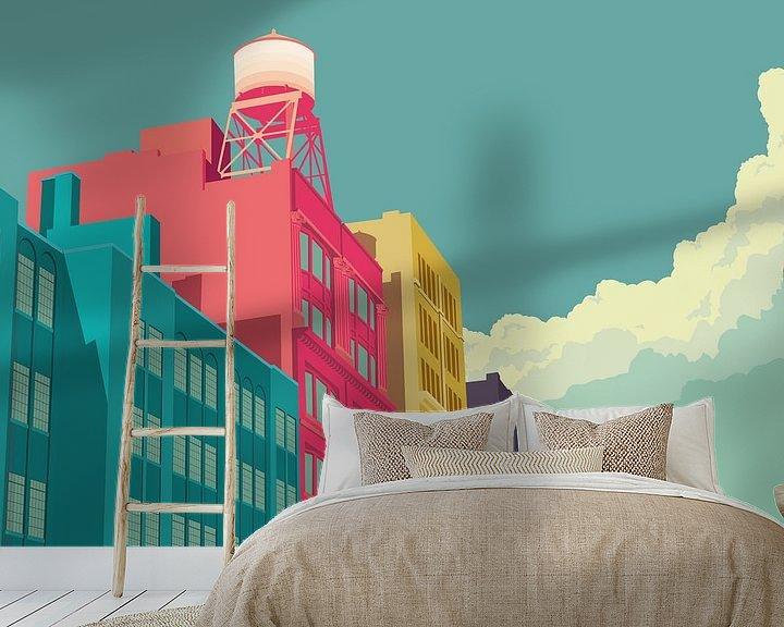 Sfeerimpressie behang: East 10th Street NYC van Remko Heemskerk