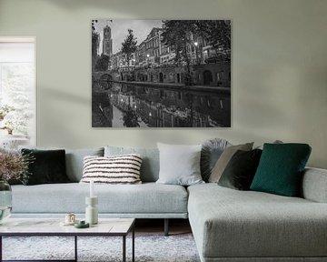 """""""Oude gracht"""" en Dom van Utrecht (zwart-wit) van Kaj Hendriks"""