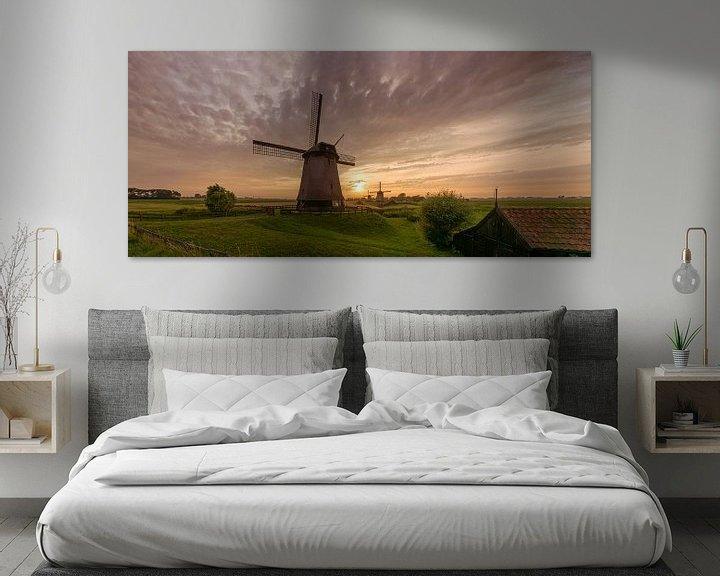 Sfeerimpressie: Drie windmolens in de  Beemster polder van Toon van den Einde