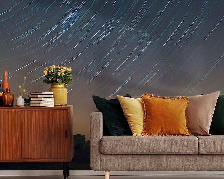 Sfeerimpressie behang: Startrail met Perseiden (high iso) van Francois Debets