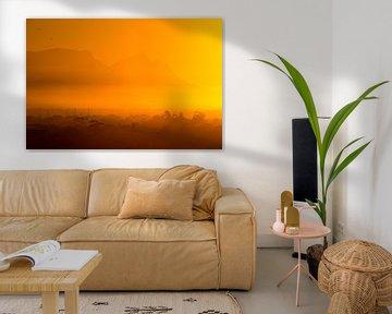 Tafelberg bij zonsondergang van Arthur van Iterson