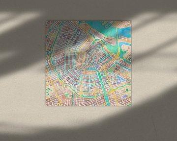 Kaart Amsterdam in waterverf von Creatieve Kaarten