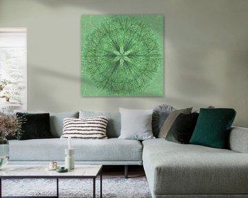 Mandala graphique, vert sur Rietje Bulthuis