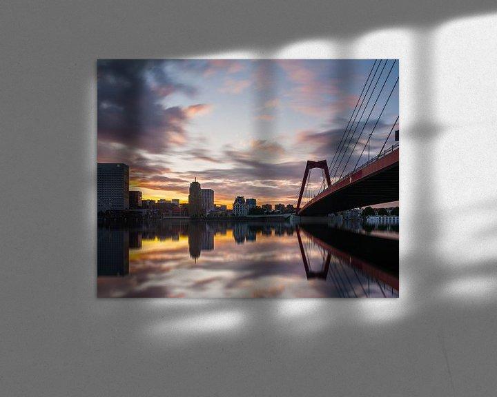 Sfeerimpressie: Willemsbrug Rotterdam at sunset van Ilya Korzelius