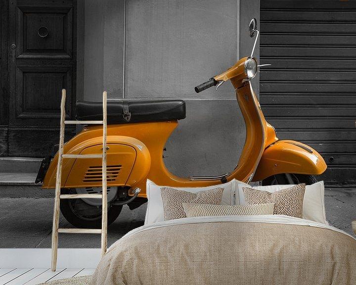 Sfeerimpressie behang: Orange Vespa van Tom Roeleveld