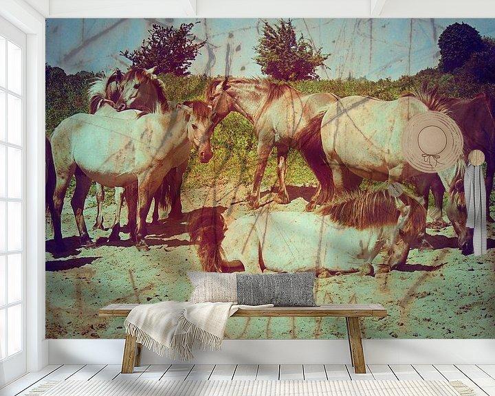 Beispiel fototapete: Konik Paarden in De Blauwe Kamer von Wilfried van Dokkumburg