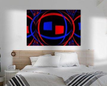 Blauwe en rode gebogen vormen op zwart van Leo Huijzer
