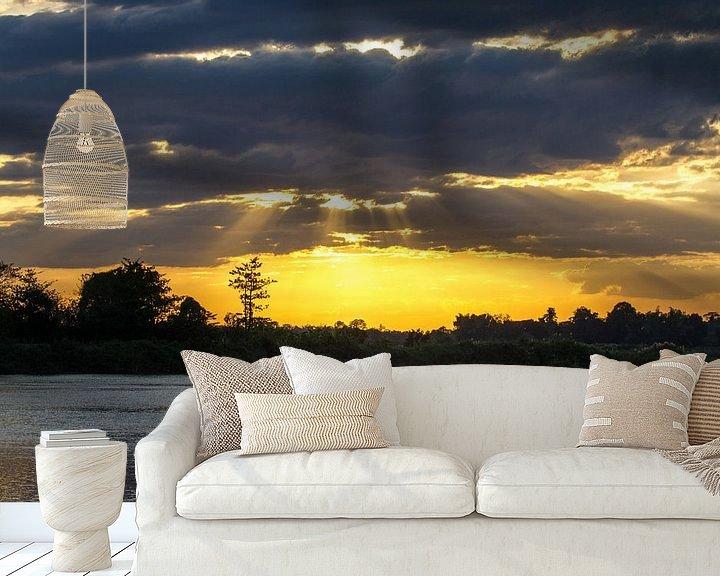 Beispiel fototapete: Sonnenuntergang am Mekong von Levent Weber