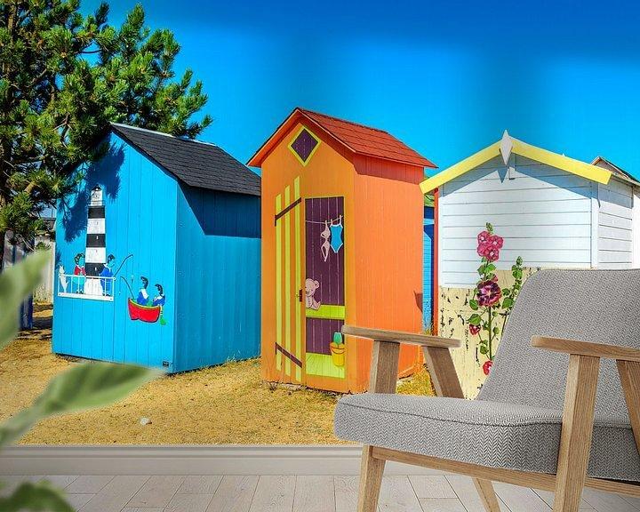 Sfeerimpressie behang: Strand kabines op Ile d'Oléron van 7Horses Photography