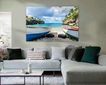 Vissersbootjes bij Lagun, Curacao van Joke Van Eeghem
