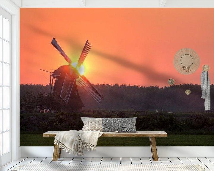 Sfeerimpressie behang: Noordermolen bij Zonsondergang van Frenk Volt