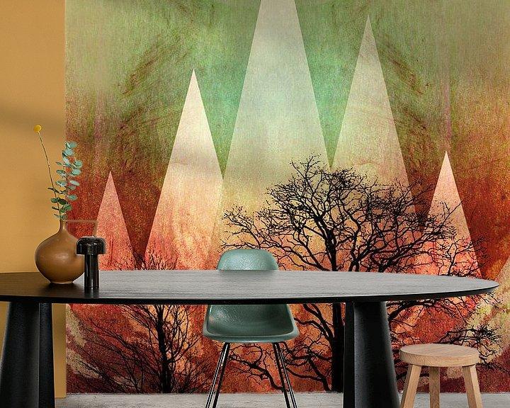 Sfeerimpressie behang: TREES under MAGIC MOUNTAINS I-A van Pia Schneider