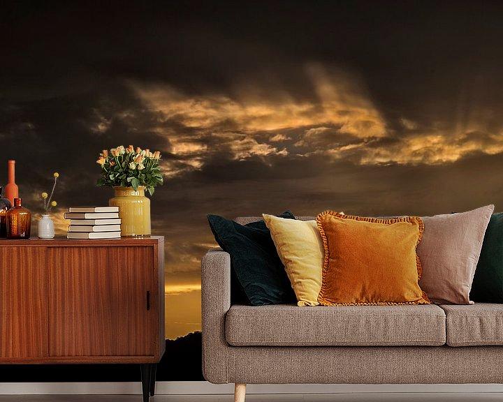 Sfeerimpressie behang: gouden zonsondergang van Anouschka Hendriks