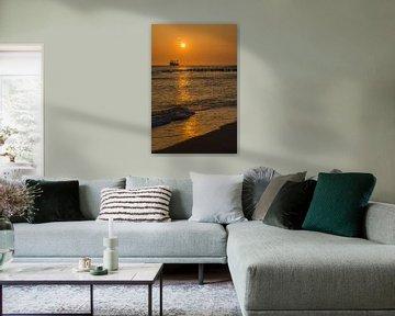 Zonsondergang strand Zoutelande  van Tonko Oosterink