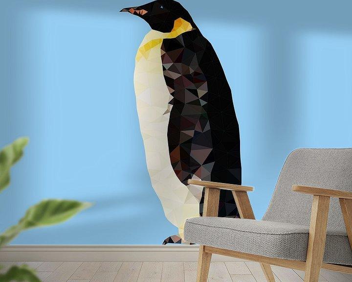 Sfeerimpressie behang: Pinguin van Low Poly