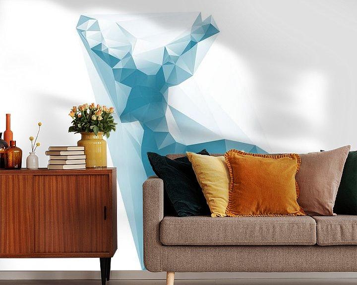 Sfeerimpressie behang: Statig hert van Low Poly