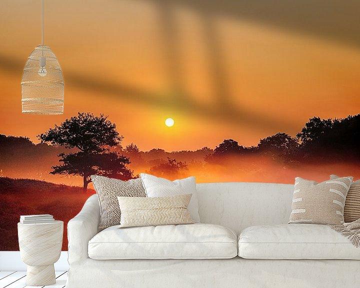 Sfeerimpressie behang: Foggy Dunes Gasteren Netherlands Zonsopkomst van R Smallenbroek