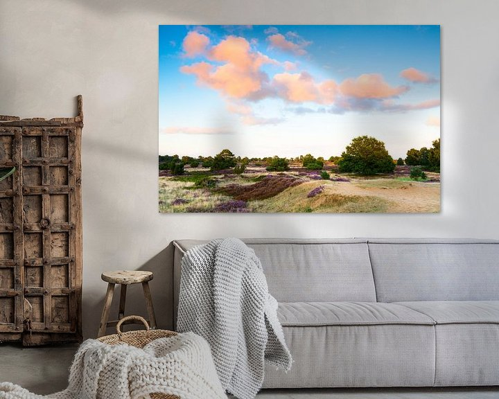 Sfeerimpressie: Heideveld met wolkenlucht van Mark Scheper