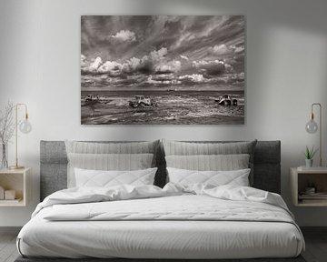 Kustversterkingsproject in Noord-Holland in zwart-wit van Miranda van Hulst