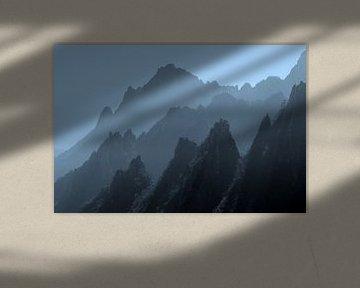 Silhouetten Gele Bergen, Huangshan