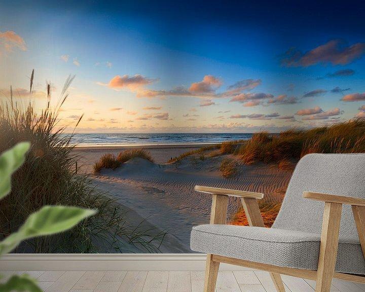 Sfeerimpressie behang: zonsondergang achter de Hollandse duinen van gaps photography