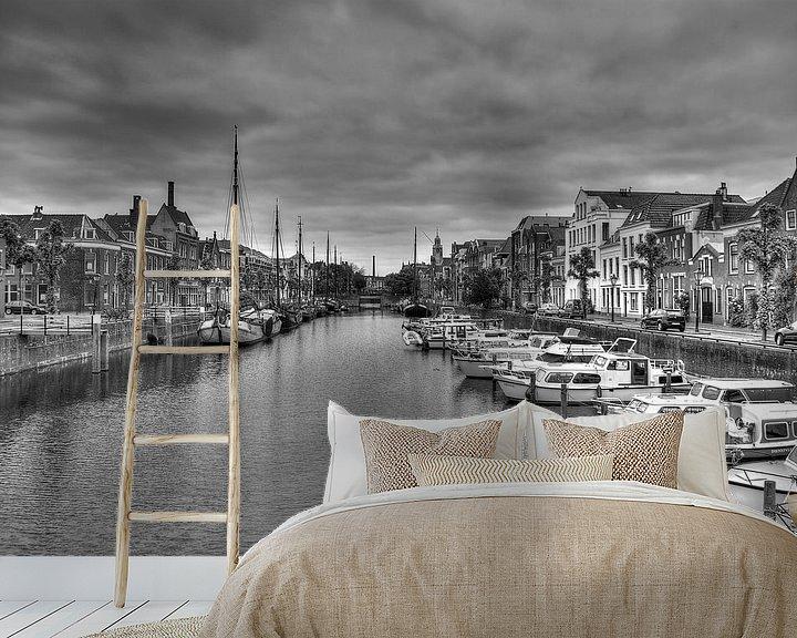 Sfeerimpressie behang: Historisch Delfshaven in zwart-wit (HDR) 2 van Rouzbeh Tahmassian