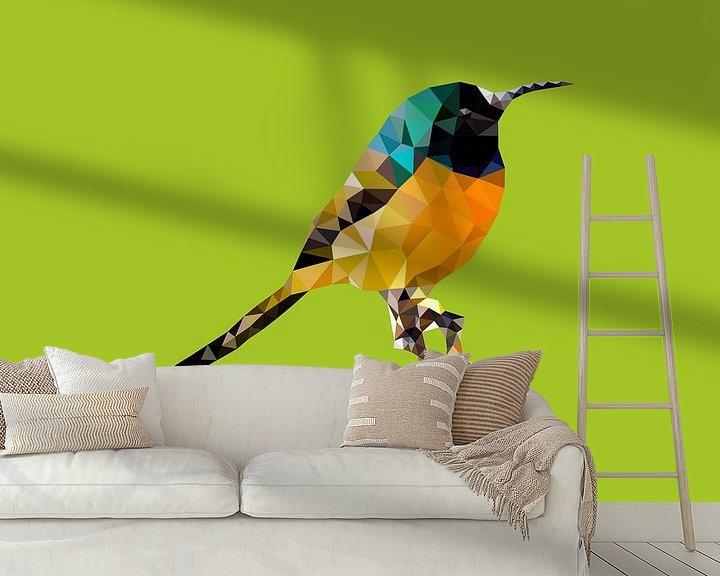 Sfeerimpressie behang: Vogel van Low Poly