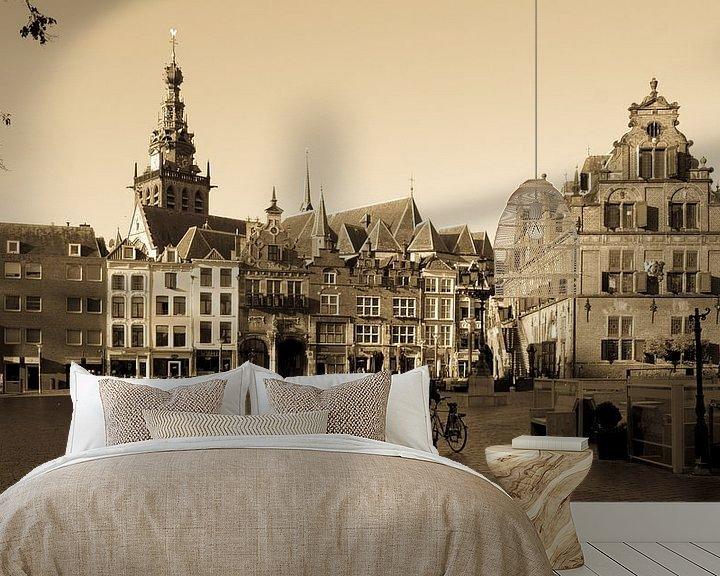 Sfeerimpressie behang: Waagplein Nijmegen klassiek beeld van Tessa Louwerens