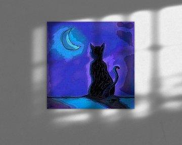 Kat in Maanlicht von Nathalie Antalvari