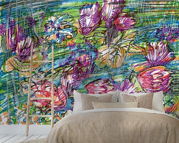 Sfeerimpressie behang: Rivier met bloemen van ART Eva Maria