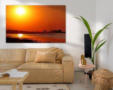 Sunset in Botswana van W. Woyke