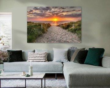 Sonnenuntergang Texel, in der Nähe von De Koog von Hugo Meekes
