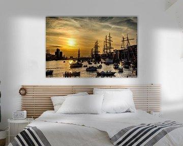 Sail Amsterdam met zonsondergang van Ton de Koning