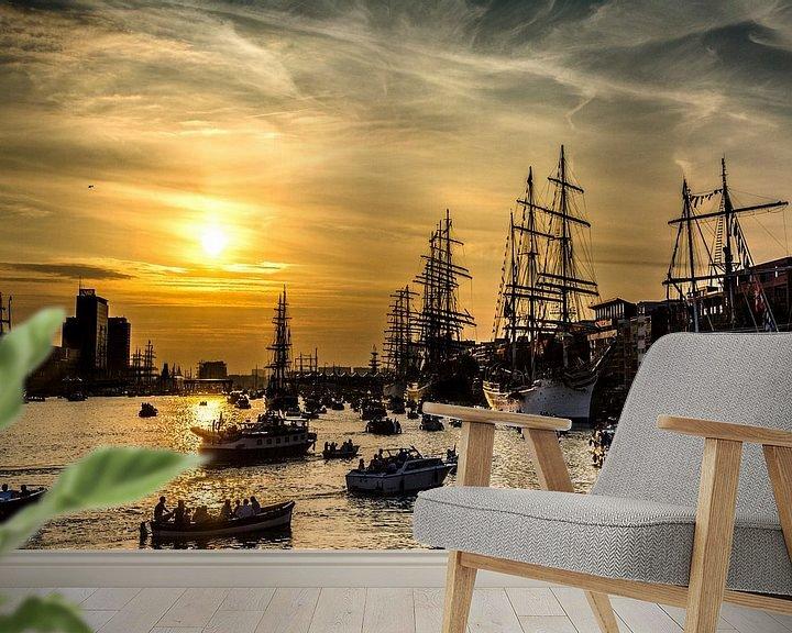 Sfeerimpressie behang: Sail Amsterdam met zonsondergang van Ton de Koning