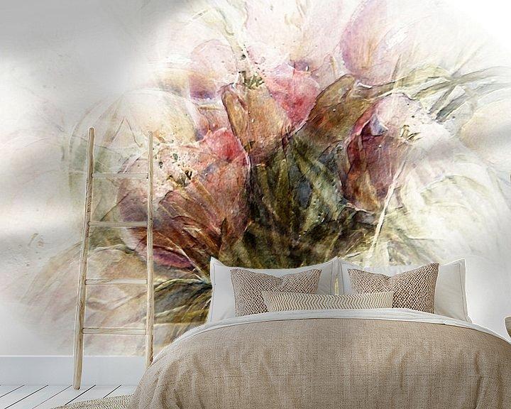 Sfeerimpressie behang: Roze tulpen van Christine Nöhmeier