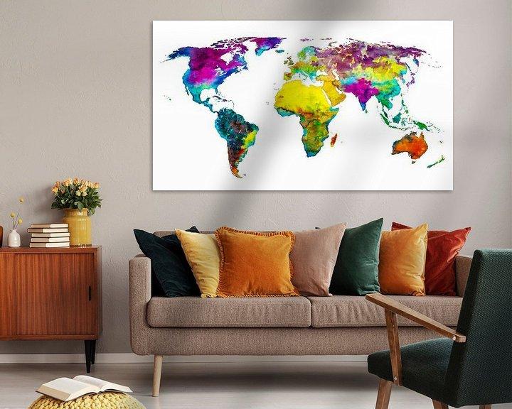 Sfeerimpressie: Tropical Color Wereldkaart van Wereldkaarten.Shop