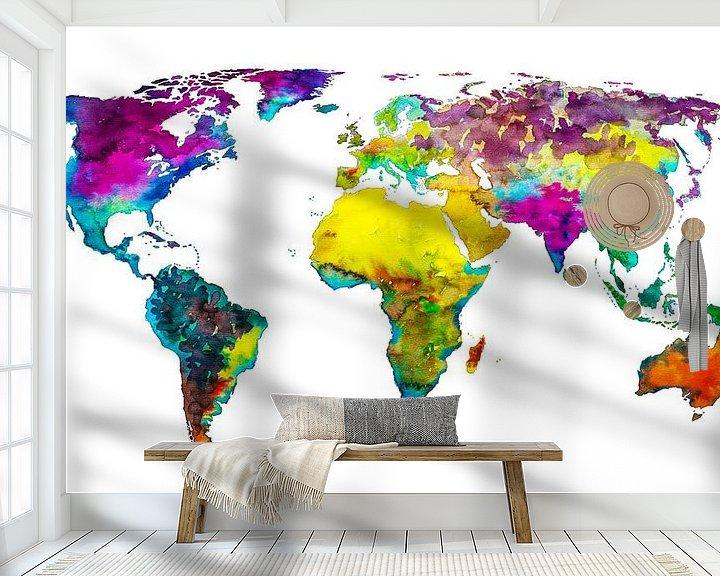 Sfeerimpressie behang: Tropical Color Wereldkaart van Wereldkaarten.Shop