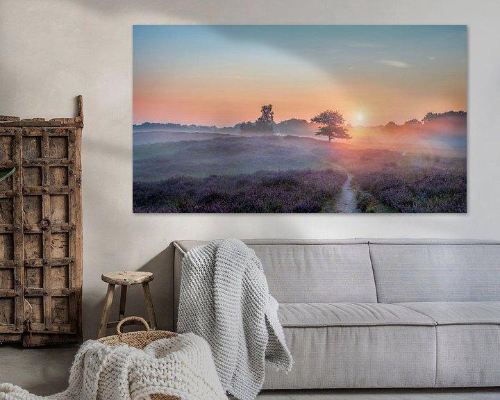 Sfeerimpressie: Gasterse Duinen met Flare paarse heide en mist van R Smallenbroek