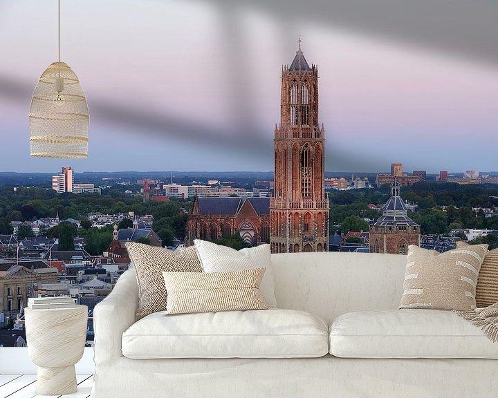 Sfeerimpressie behang: Stadsgezicht van Utrecht met de Domtoren  van Merijn van der Vliet