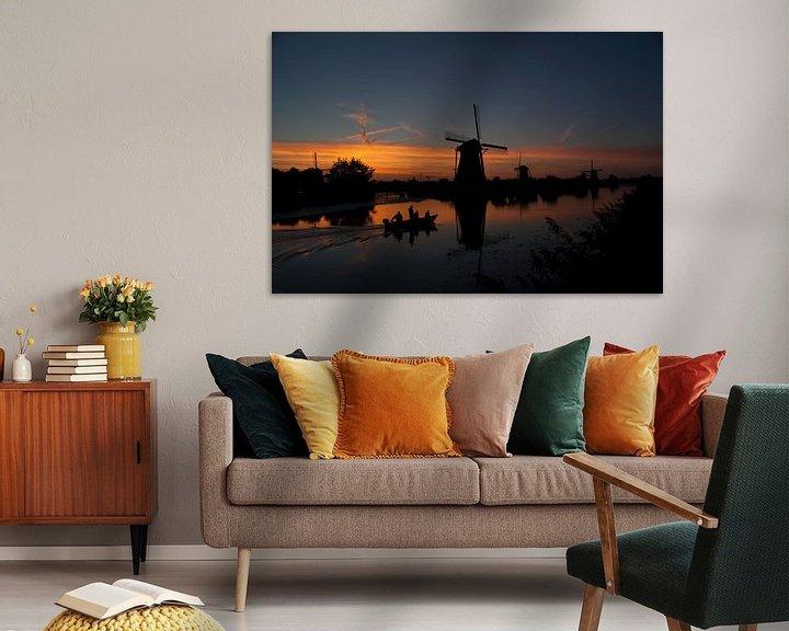 Impression: Des moulins avec coucher du soleil   sur Birgitte Bergman