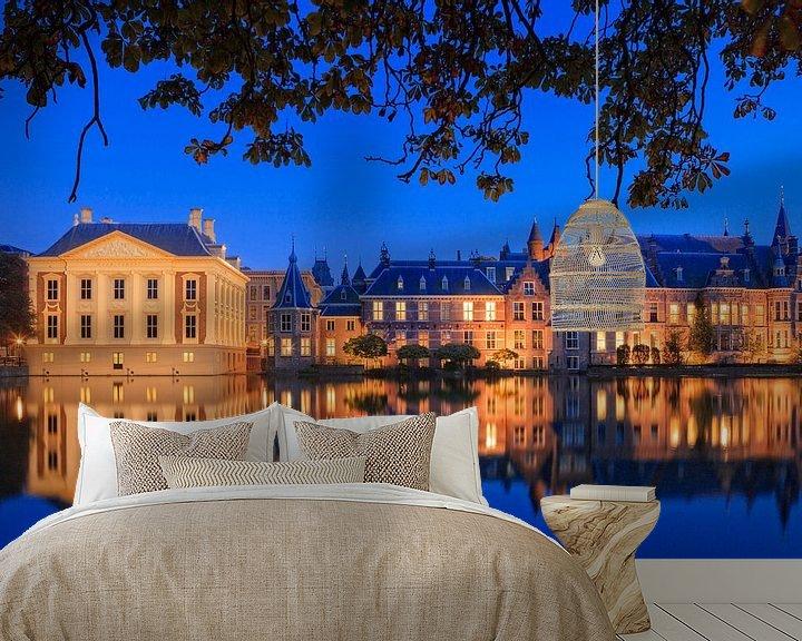 Sfeerimpressie behang: regeringsgebouwen aan de Hofvijver in Den Haag van gaps photography